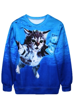 Blue Cool Ladies Jumper Crew Neck Cat Dollar Printed Sweatshirt