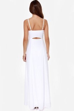 White Pretty Womens V-neck Sleeveless Strap Backless Maxi Dress