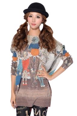 Beige Ladies Long Sleeve Girls Printed Oversized Jumper Sweater