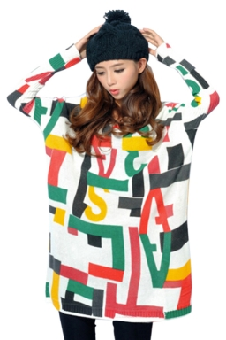 White Womens Crew Neck Letters Printed Oversized Pullover Sweater