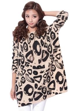 Ladies Geometric Printed Crew Neck Oversized Pullover Sweater