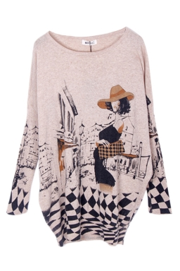 Ladies Batwing Sleeve Girl Printed Oversized Pullover Sweater