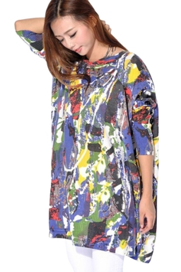 Blue Charming Ladies Painting Graffiti Oversized Pullover Sweater