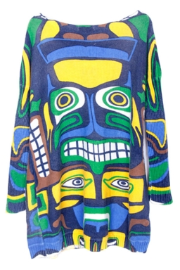 Womens Maya Graffiti Batwing Sleeve Oversized Pullover Sweater