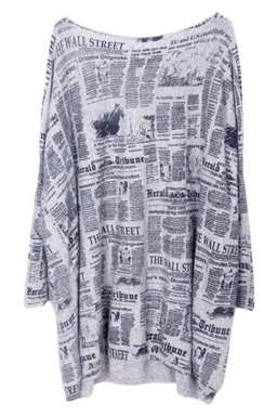 Gray Loose Womens Modest Paper Pattern Jumper Sweater