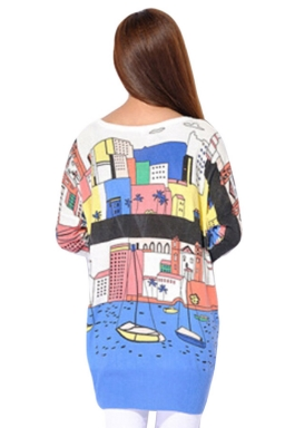 White Womens Cute Cartoon Boat Pattern Jumper Sweater