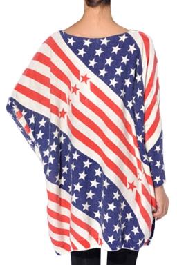 Crew Neck Star Flag Pattern Long Sleeve Oversized Jumper Sweater