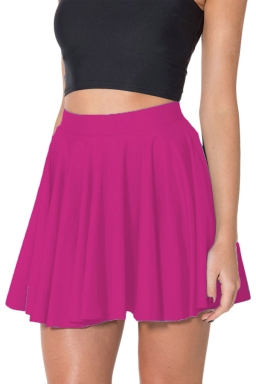 Rose Red Womens Plain Sexy Fashion Cute Pleated Skirt