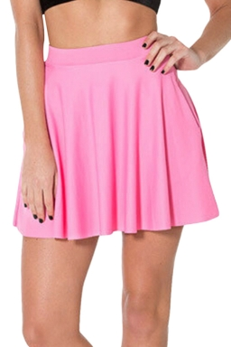 Pink Womens Plain Sexy Fashion Cute Pleated Skirt