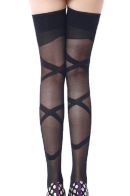 Black Charming Womens False Bandage Long Stockings