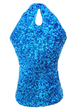 Blue Charming Ladies Sleeveless Sequined Halter Top
