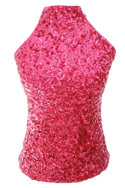 Rose Red Charming Ladies Sleeveless Sequined Halter Top