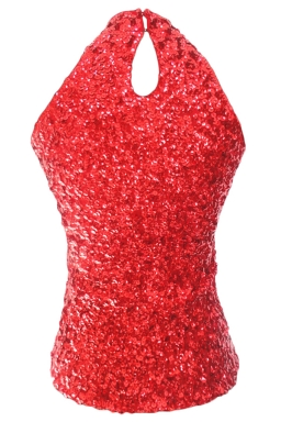 Red Charming Ladies Sleeveless Sequined Halter Top