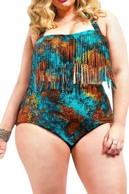 Womens Plus Size Fringe Printed Bikini Top&Sexy Swimwear Bottom Coffee