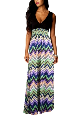 Turquoise Sexy V Neck Floral Printed Maxi Dress