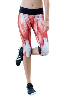 Red Muscle Printed Side Pockets Ladies Cropped Leggings
