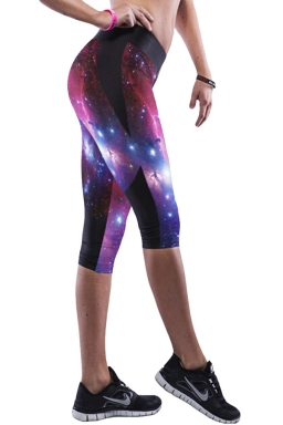 Black Galaxy Printed Sexy Chic Womens Cropped Leggings