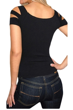Black Cut Out Slimming Sexy Womens Tee Shirt