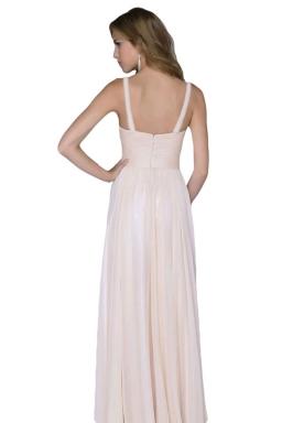 Pink Deep V Neck Backless Chiffon Ladies Evening Dress