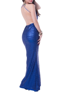 Sapphire Blue Sequined Backless Sexy Attractive Ladies Evening Dress