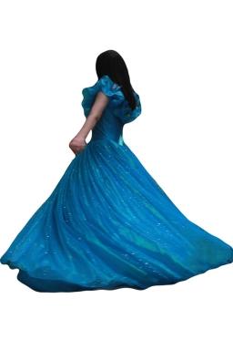 Blue Ladies Elegant Ciderella Fairytale Costume