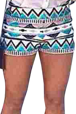Turquoise Ladies National Floral Printed Shorts