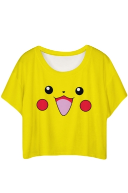 Yellow Lovely Pikachu Printed Ladies T-shirt
