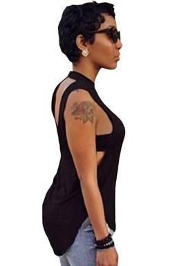 Black Plain Backless Sleeveless Sexy Womens Halter Top