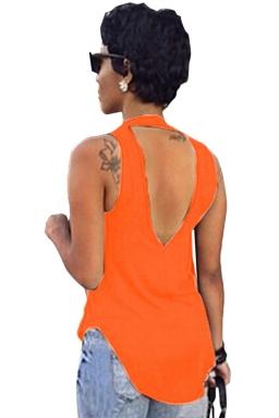 Orange Plain Backless Sleeveless Sexy Womens Halter Top