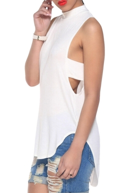 White Plain Backless Sleeveless Sexy Womens Halter Top