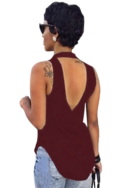 Rose Red Plain Backless Sleeveless Sexy Womens Halter Top