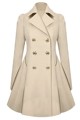 Womens Double-breasted Pleated Slimming Trench Coat Beige White