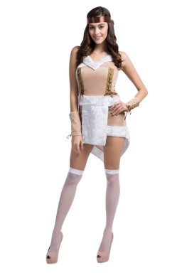 Womens See Through Straps Decorated  Halloween Pirate Costume Brown