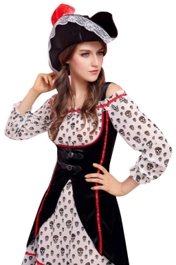 Womens Skull Printed Off Shoulder Pirate Halloween Costume Black