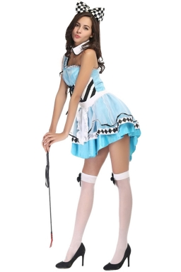 Ladies Lovely Alice Halloween Fairytale Costume Blue