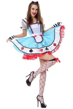Womens Poker Alice Halloween Fairytale Costume Blue
