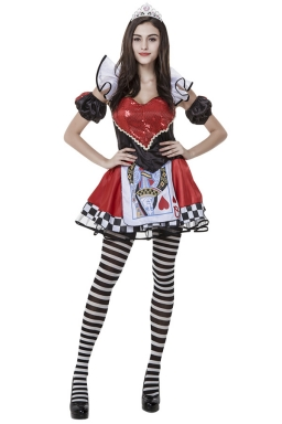 Womens Alice Evil Queen of Heart Halloween Costume Red