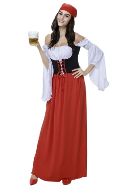 Womens Off Shoulder Sexy Halloween Pirate Costume Red