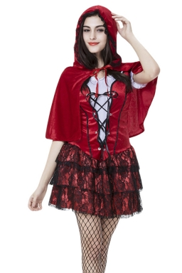 Womens Lace Little Red Riding Hood Halloween Costume Red