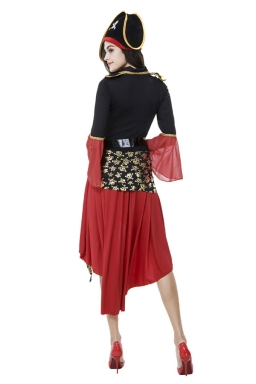 Womens Asymmetric Long Sleeve Halloween Pirate Costume Black