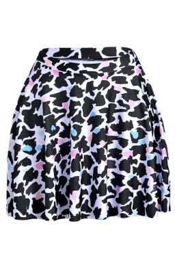 Black Leopard Printed Slimming Womens Pleated Skirt