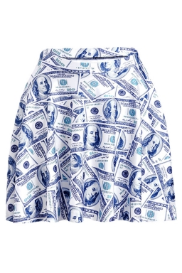 Light Gray Money Printed Slimming Womens Pleated Skirt