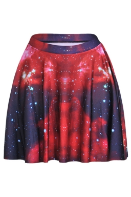 Watermelon Red Galaxy Printed Slimming Womens Pleated Skirt