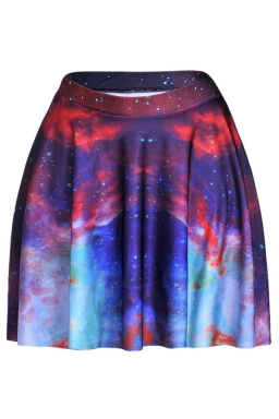 Ruby Womens Slimming Galaxy Printed Pleated Skirt