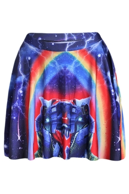 Navy Blue Womens Slimming Rainbow Printed Pleated Skirt