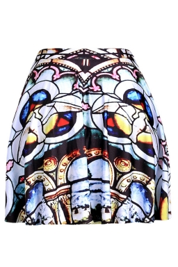 White Womens Slimming Unique Printed Pleated Skirt
