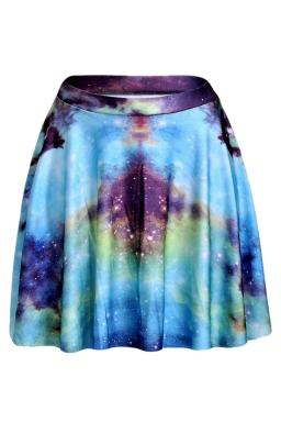Blue Womens Slimming Galaxy Printed Pleated Skirt