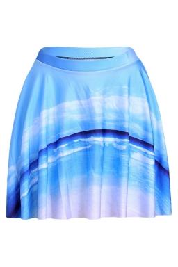Black Womens Slimming Sky Printed Pleated Skirt