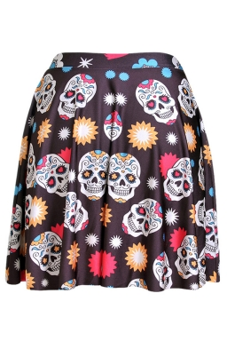 Chestnut Womens Slimming Floral Skull Printed Pleated Skirt