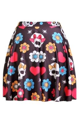 Brown Womens Slimming Floral Skull Printed Pleated Skirt